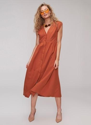 People By Fabrika Kol Detaylı Elbise Bakır